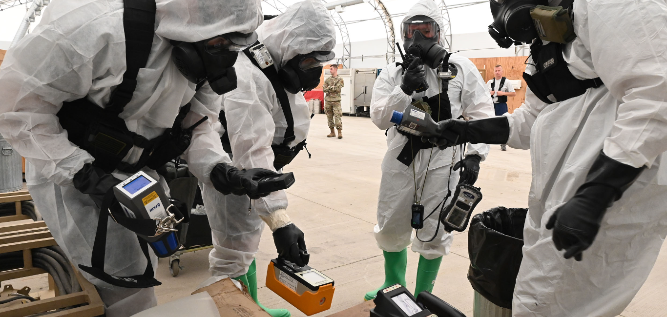 North Dakota National Guard members from left to right Sgt. Travis Johnson, Master Sgt. Dennis Olsen, Sgt. Brent LaFontaine and Master Sgt. Craig Akerstrom, use hazardous material detection equipment during exercise Vigilant Guard at the N.D. Air National Guard Base, Fargo, N.D., Aug. 4, 2020. 119th Wing Emergency Management personnel teamed up with members of the North Dakota National Guard 81st Civil Support Team for a hazardous material detection exercise as part of exercise Vigilant Guard at the North Dakota Air National Guard regional training site. (U.S. Air National Guard photo by Chief Master Sgt. David H. Lipp)