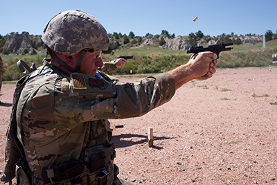 Senior Master Sgt. Wade Swenson, North Dakota Air National Guard, shoots a course of fire July 28, 2019, at Camp Guernsey, Wyo.