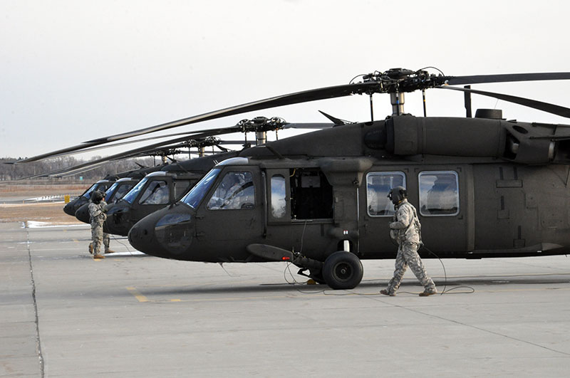 N.D. Army National Guard Black Hawk helicopters in Bismarck, N.D.