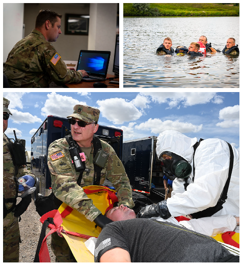 From top left: 1st. Lt. Scott Leier; Network Systems Platoon Leader, 426th Signal Company, responds to a simulated cyber incident during Vigilant Guard 2020. Top right: Soldiers of the 957th Engineer Company retrieve a casualty mannequin from Crown Butte Dam during search and rescue exercise with the Morton County Sheriff's Department on Aug. 5, 2020. (Army National Guard photos by Staff Sgt. Ashley Johlfs, 116th Public Affairs Detachment). Bottom: Sgt. 1st Class John Noyes, a medical technician with the 81st Civil Support Team, treats simulated exercise victim Sgt. Travis Johnson, also of the 81st Civil Support Team, for injuries during exercise Vigilant Guard at the N.D. Air National Guard Base, Fargo, N.D., Aug. 4, 2020. (Air National Guard photo by Chief Master Sgt. David H Lipp)